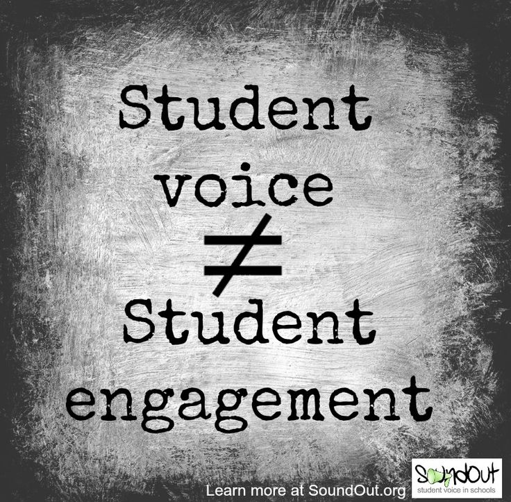 This graphic shows student voice is not the same as student engagement.