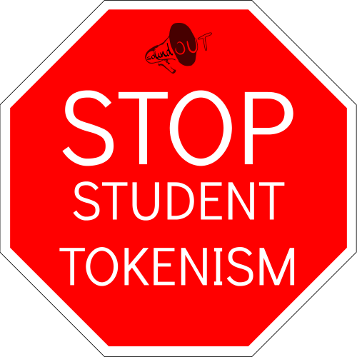 SoundOut Stop Student Tokenism sign