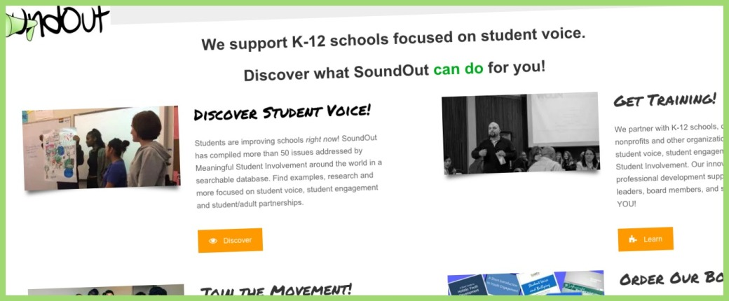 A section of the SoundOut website