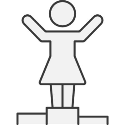 Student on a pedestal