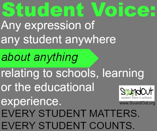 Student voice is any expression of any student, anywhere, about anything relating to schools, learning or the educational experience. Every student matters. Every student counts.