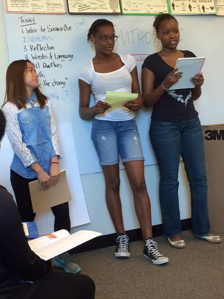 SoundOut students presenting their findings about the perfect school.