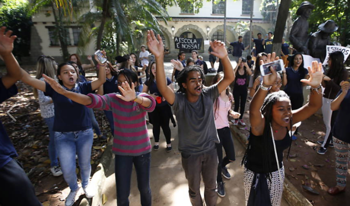 Student activists occupy a school in São Paulo, Brazil