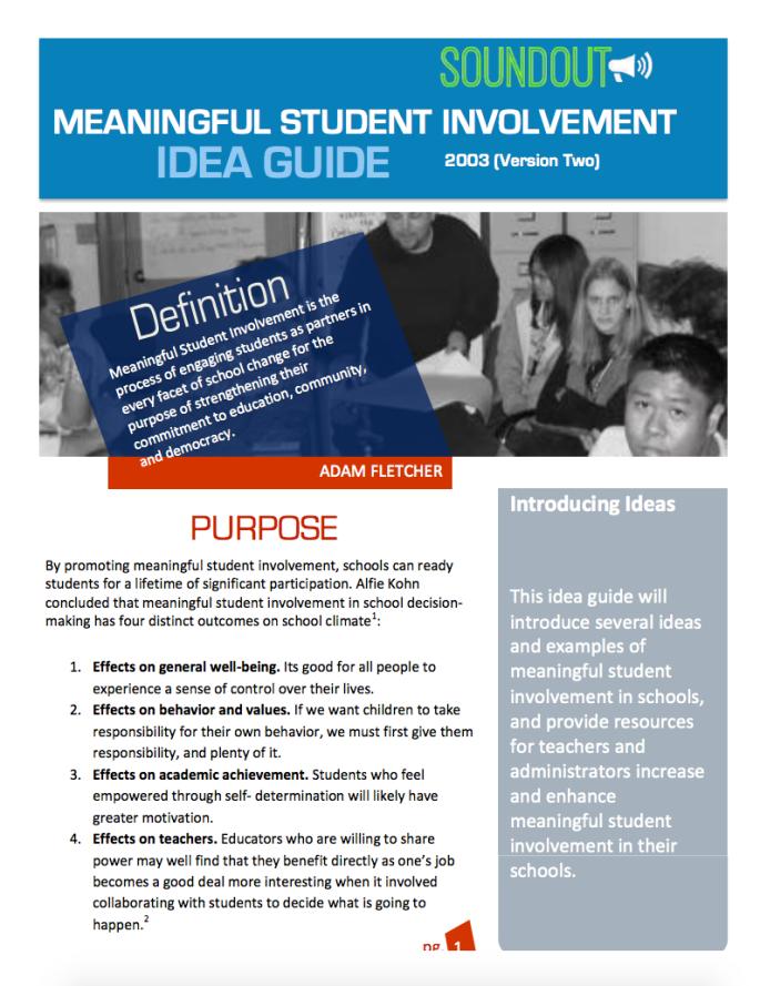 SoundOut Meaningful Student Involvement Idea Guide