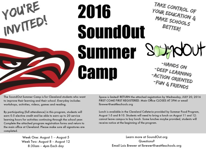 The 2016 SoundOut Summer Camp happens August 1-11 at Cleveland High School in Seattle